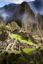 Peru, cidade antiga, Machu Picchu, América do Sul, nuvens, montanhas