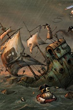 Preview iPhone wallpaper Pirates, helicopter, ship, storm, sea, robot, art picture