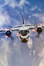 Preview iPhone wallpaper Plane flight, flame, crash