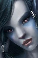 Olhos roxos menina de fantasia, rosto, olhar