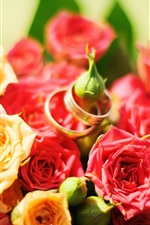 Preview iPhone wallpaper Red and yellow roses, rings