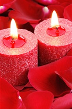Preview iPhone wallpaper Red candles, flame, rose petals, romantic