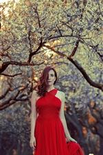 Preview iPhone wallpaper Red dress girl, hair style, trees