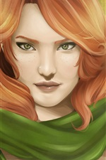 Preview iPhone wallpaper Red hair fantasy girl, archer