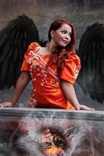 Preview iPhone wallpaper Red hair woman, wings, creative