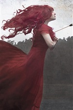 Preview iPhone wallpaper Red skirt girl, arrow, maple leaves, art picture