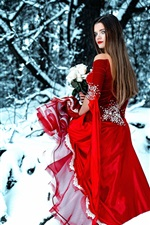 Preview iPhone wallpaper Red skirt girl look back, snow, winter