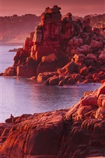 Preview iPhone wallpaper Rocks, sea, red style, sunset
