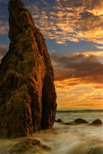 Preview iPhone wallpaper Rocks, sea, water, clouds, sunset