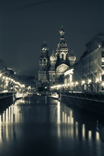 Preview iPhone wallpaper Saint Petersburg, Church, bridge, river, houses, night