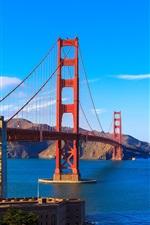 San Francisco, Golden Gate Bridge, bay, clouds, USA