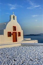 Preview iPhone wallpaper Santorini, Greece, church, mountains, island, sea, rocks