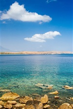 iPhone fondos de pantalla Mar, costa, rocas, barco, pescador