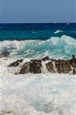 Preview iPhone wallpaper Sea, coast, waves, water, stones