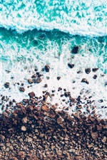 Preview iPhone wallpaper Sea, shore, stones, waves, water, top view