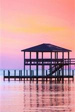 Preview iPhone wallpaper Sea, sunset, pier, dusk
