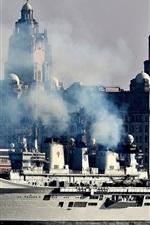 Preview iPhone wallpaper Ship landing, smoke, pier, city, river