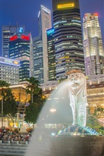 Preview iPhone wallpaper Singapore, Marina Bay, fountain, skyscrapers, night, lights, people