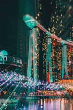 Preview iPhone wallpaper Singapore, city night, buildings, illumination