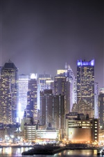 Preview iPhone wallpaper Skyscrapers, megapolis, night, city, lights, Union City, New Jersey