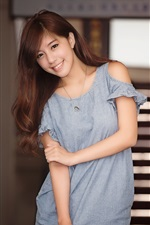 Preview iPhone wallpaper Smile Asian girl, curly hair, summer dress