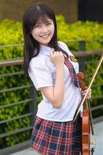 Preview iPhone wallpaper Smile Asian girl, violin, music
