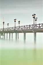 Preview iPhone wallpaper Spain, Andalusia, Marbella, bridge, sea, pier, lights, fog