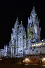 Spain, Cathedral, night, buildings, lights