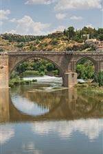 Preview iPhone wallpaper Spain, Toledo, city, bridge, trees, river