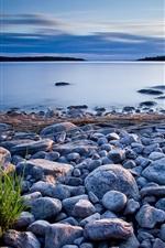 Stones, grass, lake, dusk