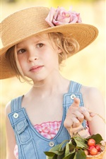Preview iPhone wallpaper Summer, child girl, hat, cherry