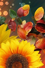 Sunflowers, leaves, collage
