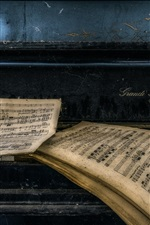 Preview iPhone wallpaper Symphony, notes, piano, dust