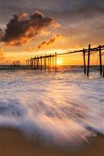 Thailand, evening, sea, waves, beach, sunset