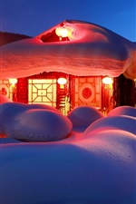 Preview iPhone wallpaper Thick snow, house, lights