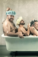 Preview iPhone wallpaper Three men take bath