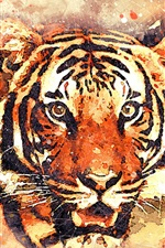 Preview iPhone wallpaper Tiger face, watercolor painting