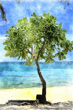 Preview iPhone wallpaper Tropical beach, trees, sea, watercolor painting