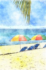 Preview iPhone wallpaper Umbrellas, beach, sea, watercolors