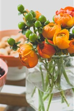 Preview iPhone wallpaper Vase, orange flowers, bowls, nuts