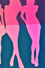 Preview iPhone wallpaper Vector girls, colorful