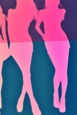 iPhone обои Векторные девушки, красочные