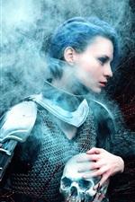 Preview iPhone wallpaper Warrior girl, armor, skull, smoke