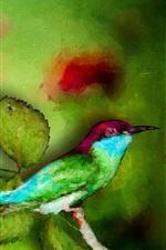 Pintura aquarela, martinho pescador, folhas verdes