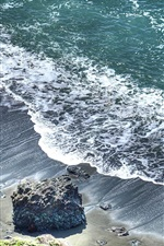 Waves, stones, beach, sea, top view