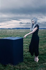 Preview iPhone wallpaper White hair girl, box, grass, clouds