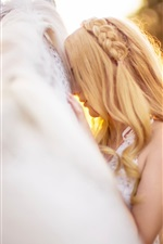 Preview iPhone wallpaper White horse and blonde girl, bokeh