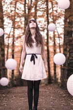 Preview iPhone wallpaper White skirt girl, forest, ball lamps flight
