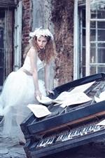 Preview iPhone wallpaper White skirt girl, sheet music, broken piano