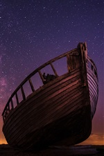 Preview iPhone wallpaper Wood boat, starry, night, sky